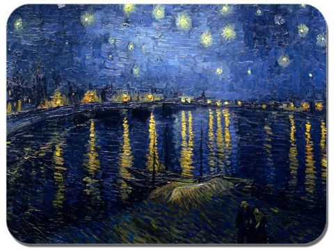Vincent Van Gogh Starry Night  Over The Rhone Mouse Mat. High Quality Mouse Pad